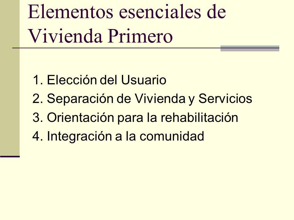 19 Elementos esenciales de Vivienda Primero 1. Elección del Usuario 2.