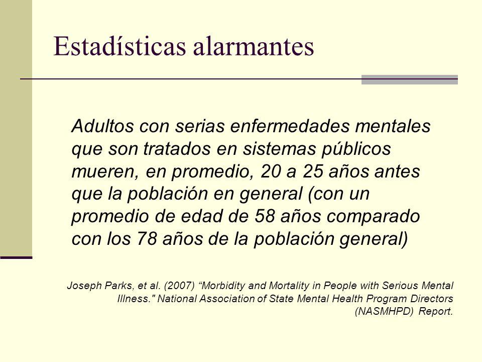 Estadísticas alarmantes Adultos con serias enfermedades mentales que son tratados en sistemas públicos mueren, en promedio, 20 a 25 años antes que la población en general (con un promedio de edad de 58 años comparado con los 78 años de la población general) Joseph Parks, et al.