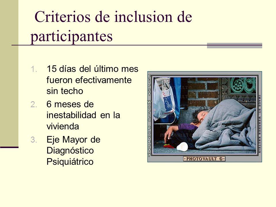 Criterios de inclusion de participantes 1. 15 días del último mes fueron efectivamente sin techo 2.