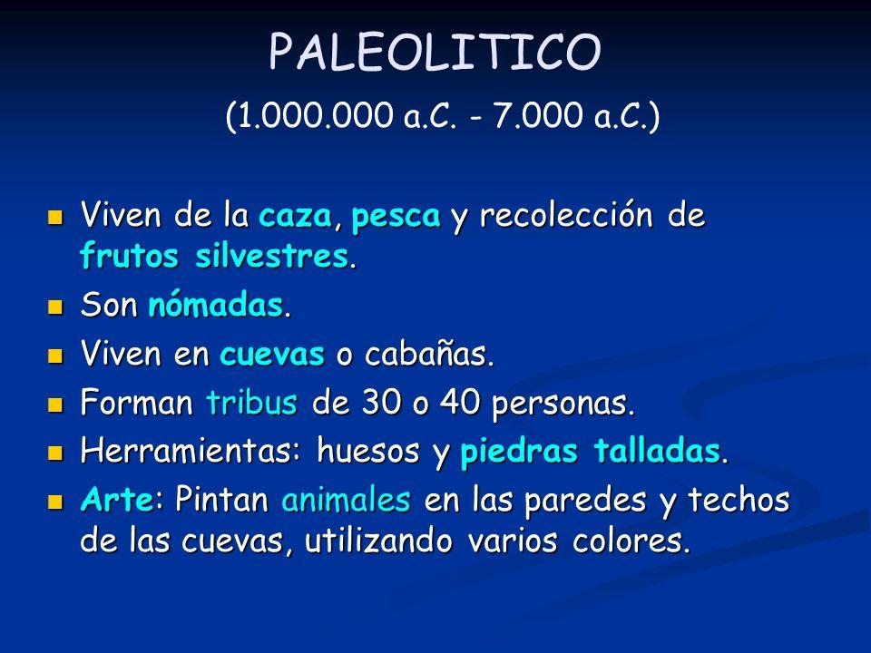 PALEOLITICO (1.000.000 a.C. - 7.000 a.C.) Viven de la caza, pesca y recolección de frutos silvestres. Son nómadas. Viven en cuevas o cabañas. Forman t
