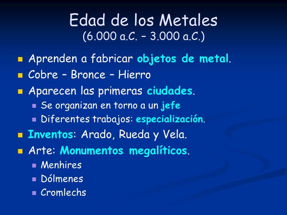 Edad de los Metales (6.000 a.C. – 3.000 a.C.) Aprenden a fabricar objetos de metal. Cobre – Bronce – Hierro Aparecen las primeras ciudades. Se organiz