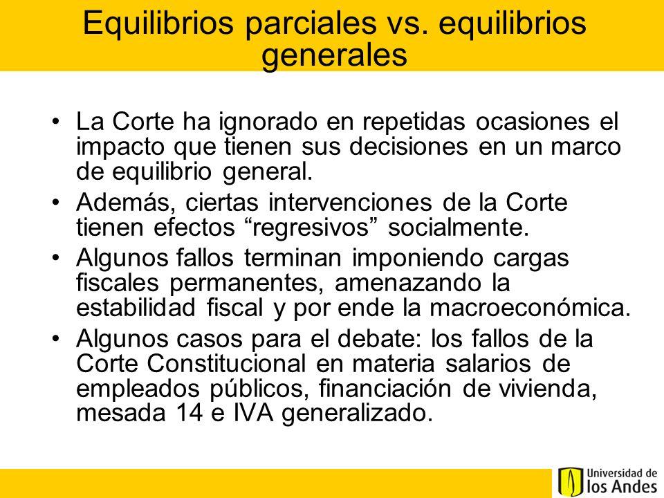 Equilibrios parciales vs. equilibrios generales La Corte ha ignorado en repetidas ocasiones el impacto que tienen sus decisiones en un marco de equili