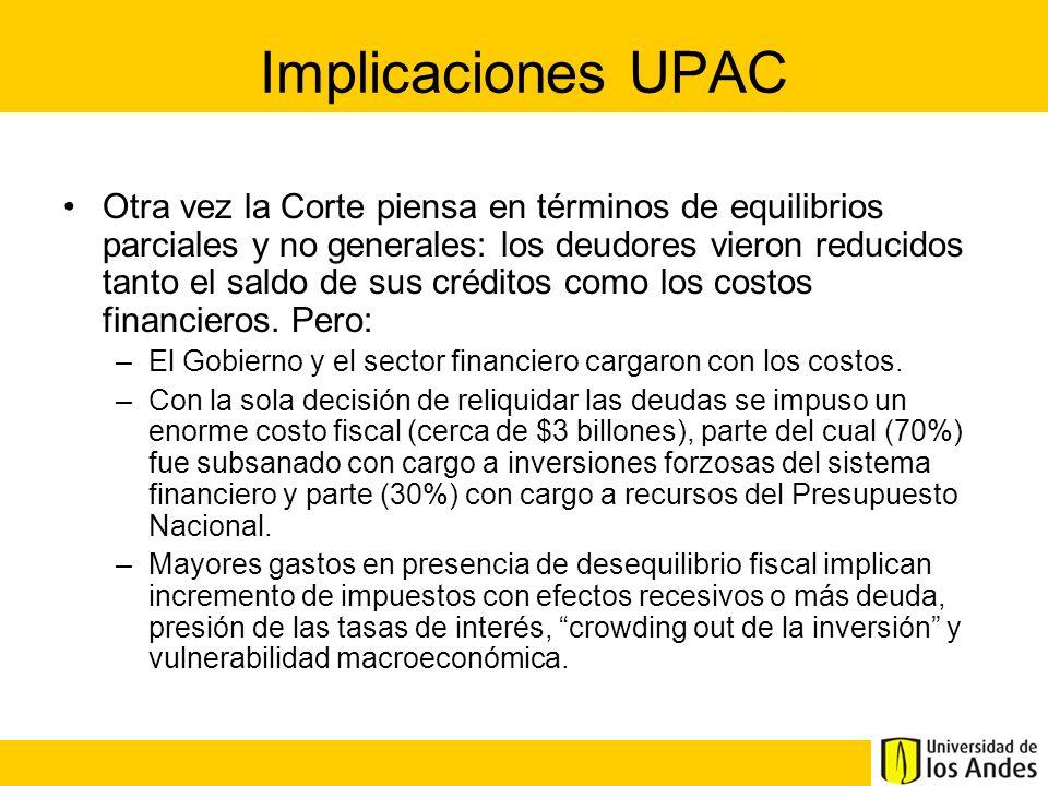 Implicaciones UPAC Otra vez la Corte piensa en términos de equilibrios parciales y no generales: los deudores vieron reducidos tanto el saldo de sus c