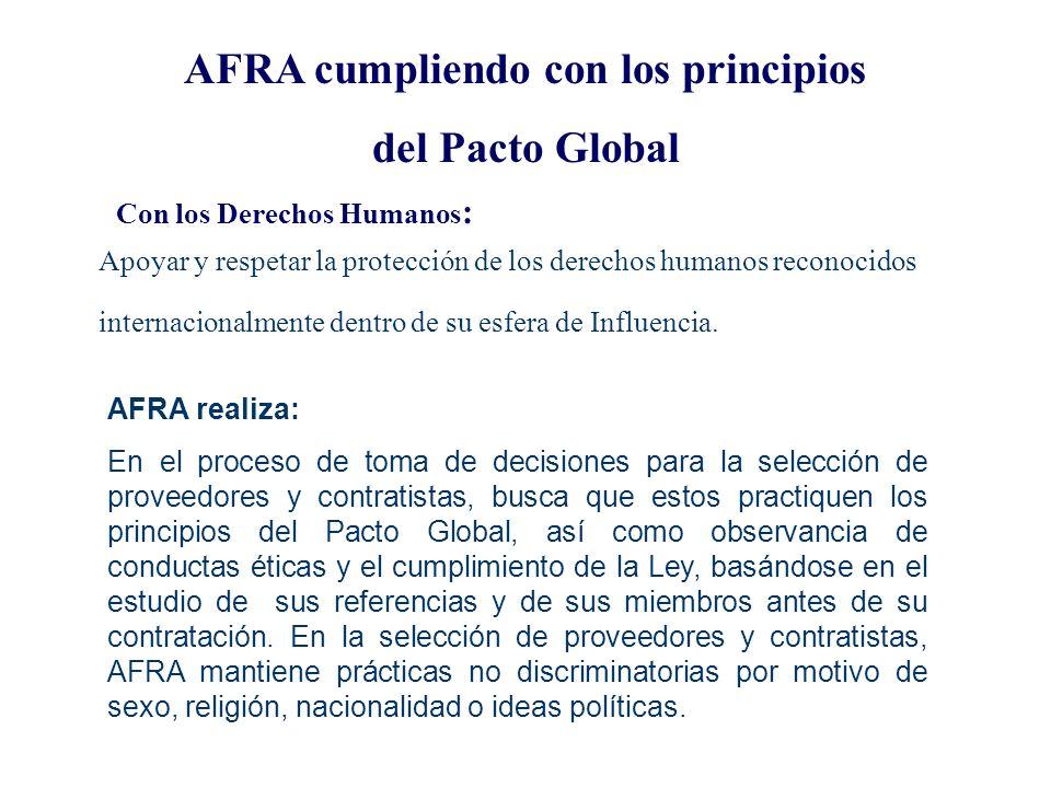 Los Diez principios del Pacto Global 1. Las empresas deberían apoyar y respetar la protección de los derechos humanos reconocidos por la sociedad inte