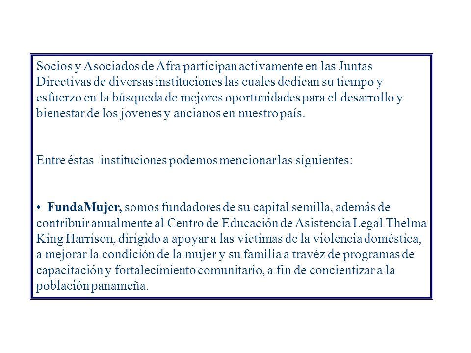 Respaldo y participación activa en Organizaciones No Gubernamentales en Panamá