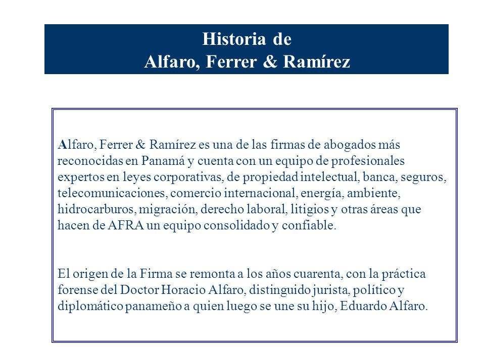 Informe de Progreso Red Pacto Global Alfaro, Ferrer & Ramírez Abogados- Attorneys at Law Panamá, 30 de enero de 2008