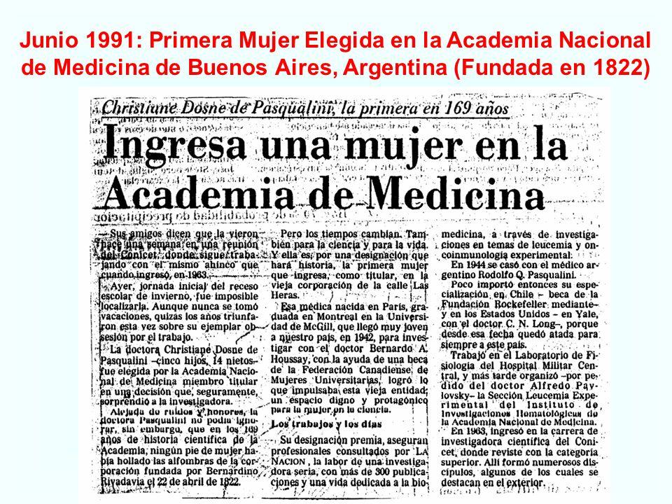 Junio 1991: Primera Mujer Elegida en la Academia Nacional de Medicina de Buenos Aires, Argentina (Fundada en 1822)