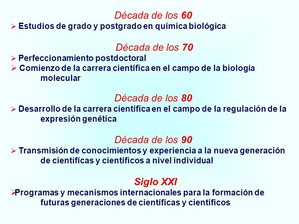 Década de los 60 Estudios de grado y postgrado en química biológica Década de los 70 Perfeccionamiento postdoctoral Comienzo de la carrera científica en el campo de la biología molecular Década de los 80 Desarrollo de la carrera científica en el campo de la regulación de la expresión genética Década de los 90 Transmisión de conocimientos y experiencia a la nueva generación de cientifícas y científicos a nivel individual Siglo XXI Programas y mecanismos internacionales para la formación de futuras generaciones de científícas y científicos
