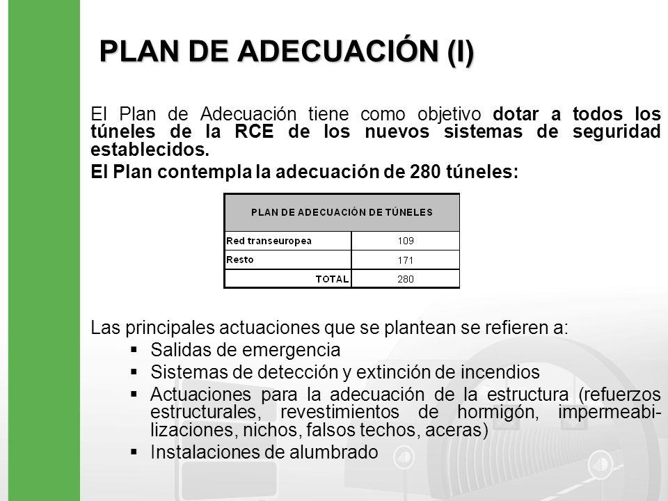 PLAN DE ADECUACIÓN (I) El Plan de Adecuación tiene como objetivo dotar a todos los túneles de la RCE de los nuevos sistemas de seguridad establecidos.