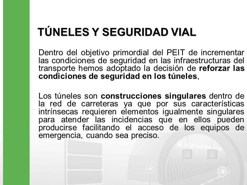 TÚNELES Y SEGURIDAD VIAL Dentro del objetivo primordial del PEIT de incrementar las condiciones de seguridad en las infraestructuras del transporte he