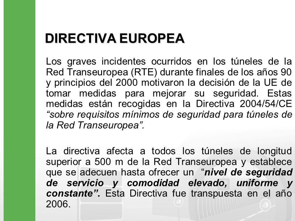 DIRECTIVA EUROPEA Los graves incidentes ocurridos en los túneles de la Red Transeuropea (RTE) durante finales de los años 90 y principios del 2000 mot