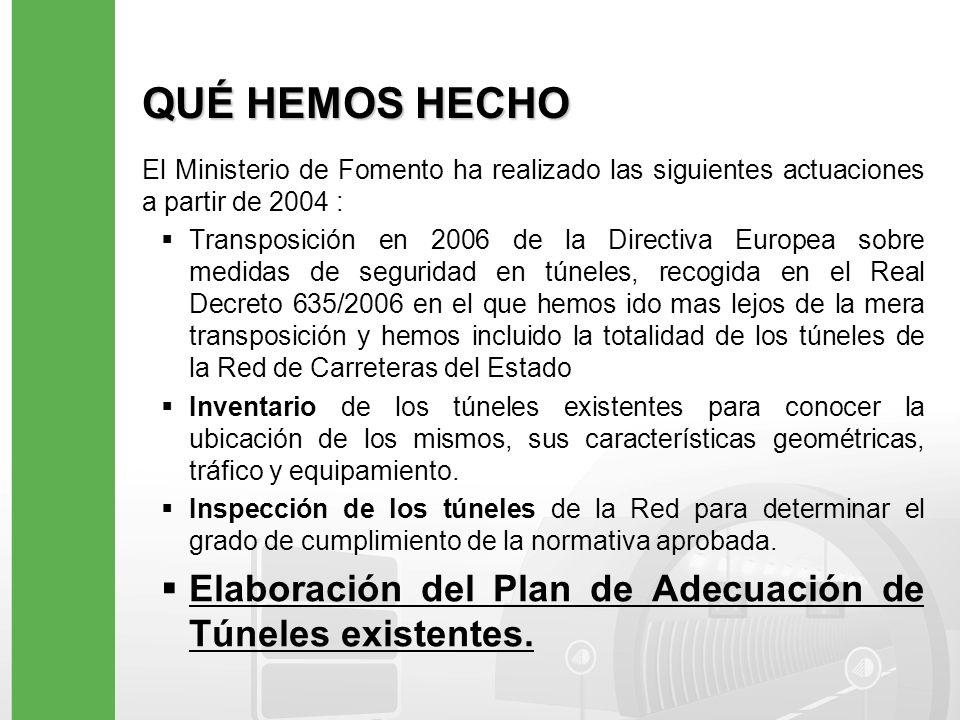 REAL DECRETO 635/2006 (I) El Real Decreto 635/2006 define el ámbito de aplicación, los requisitos mínimos de seguridad en todos los túneles de la Red de Carreteras del Estado y el plazo para llevar a cabo su adecuación.