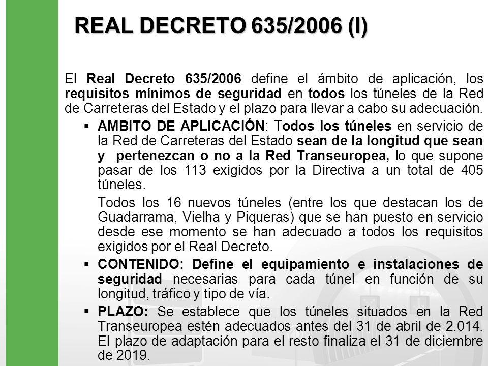 REAL DECRETO 635/2006 (I) El Real Decreto 635/2006 define el ámbito de aplicación, los requisitos mínimos de seguridad en todos los túneles de la Red