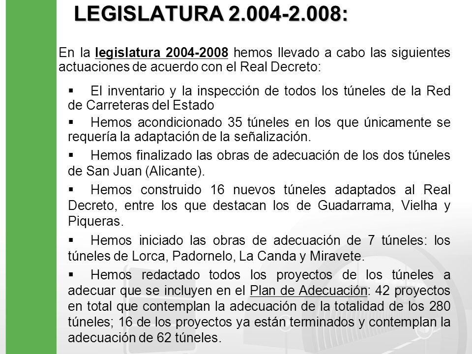 INVENTARIO E INSPECCION DE LOS TÚNELES Para determinar el grado de cumplimiento del Real Decreto hemos llevado a cabo, en el curso de la legislatura 2004-2008, el inventario y la inspección de todos los túneles de la Red de Carreteras del Estado, 405 en total, que ha reflejado lo siguiente: 125 túneles ya cumplen en 2008 con todos los requisitos de la nueva normativa.