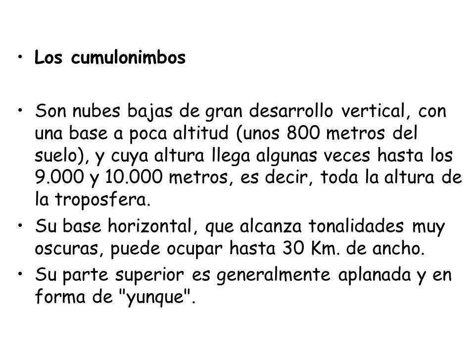 Los cumulonimbos Son nubes bajas de gran desarrollo vertical, con una base a poca altitud (unos 800 metros del suelo), y cuya altura llega algunas vec