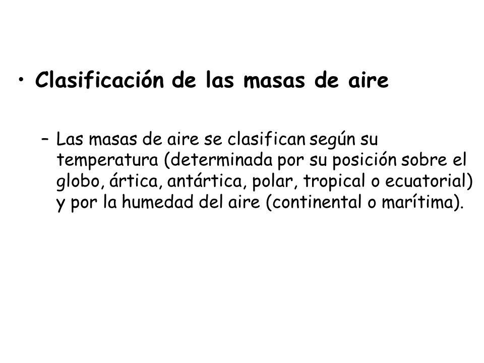 Clasificación de las masas de aire –Las masas de aire se clasifican según su temperatura (determinada por su posición sobre el globo, ártica, antártic