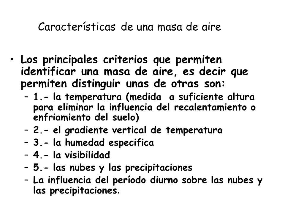 Características de una masa de aire Los principales criterios que permiten identificar una masa de aire, es decir que permiten distinguir unas de otra