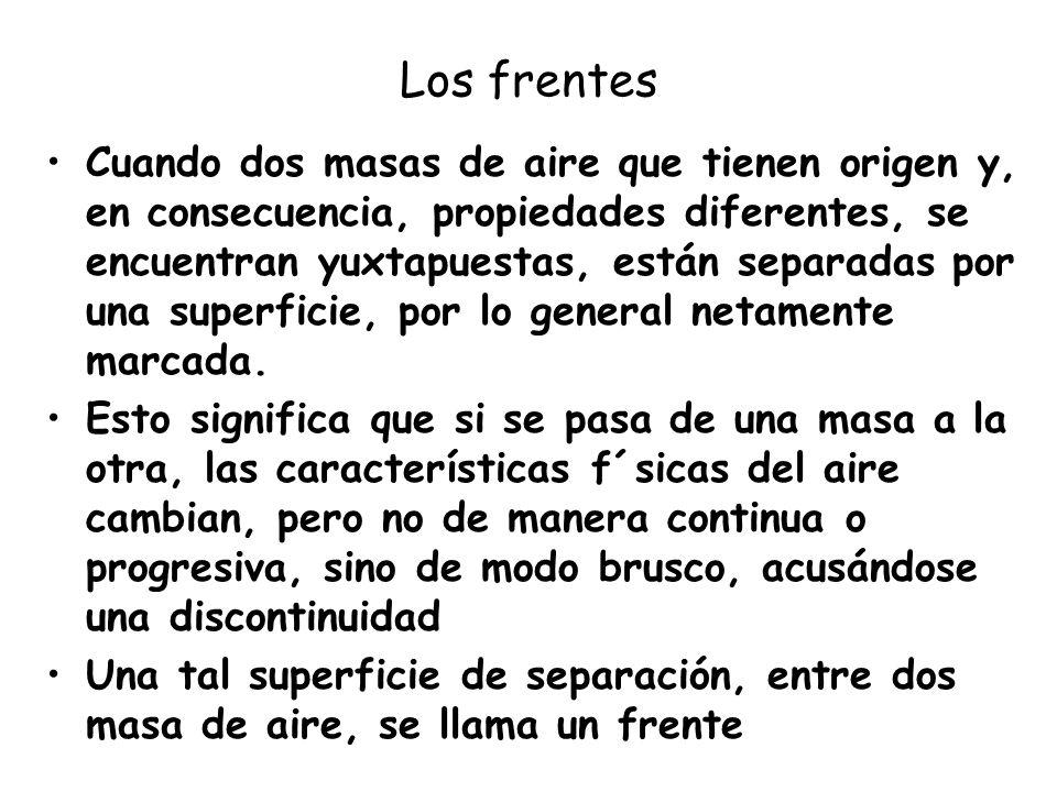 Los frentes Cuando dos masas de aire que tienen origen y, en consecuencia, propiedades diferentes, se encuentran yuxtapuestas, están separadas por una