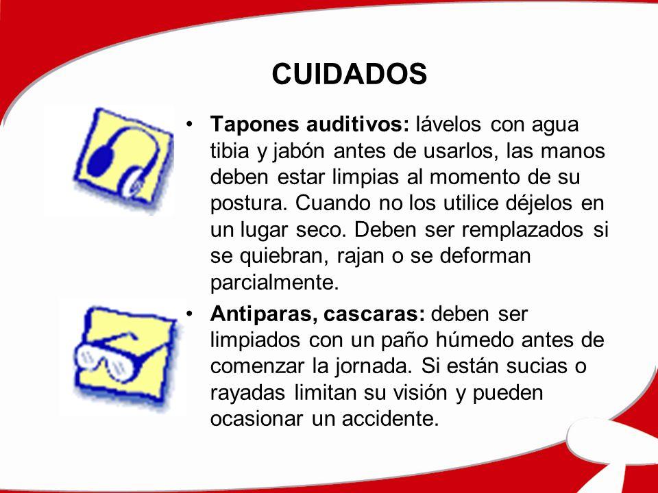 CUIDADOS Tapones auditivos: lávelos con agua tibia y jabón antes de usarlos, las manos deben estar limpias al momento de su postura. Cuando no los uti