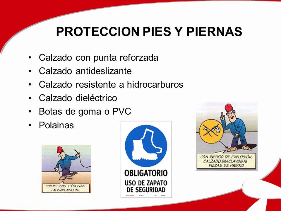 PROTECCION PIES Y PIERNAS Calzado con punta reforzada Calzado antideslizante Calzado resistente a hidrocarburos Calzado dieléctrico Botas de goma o PV