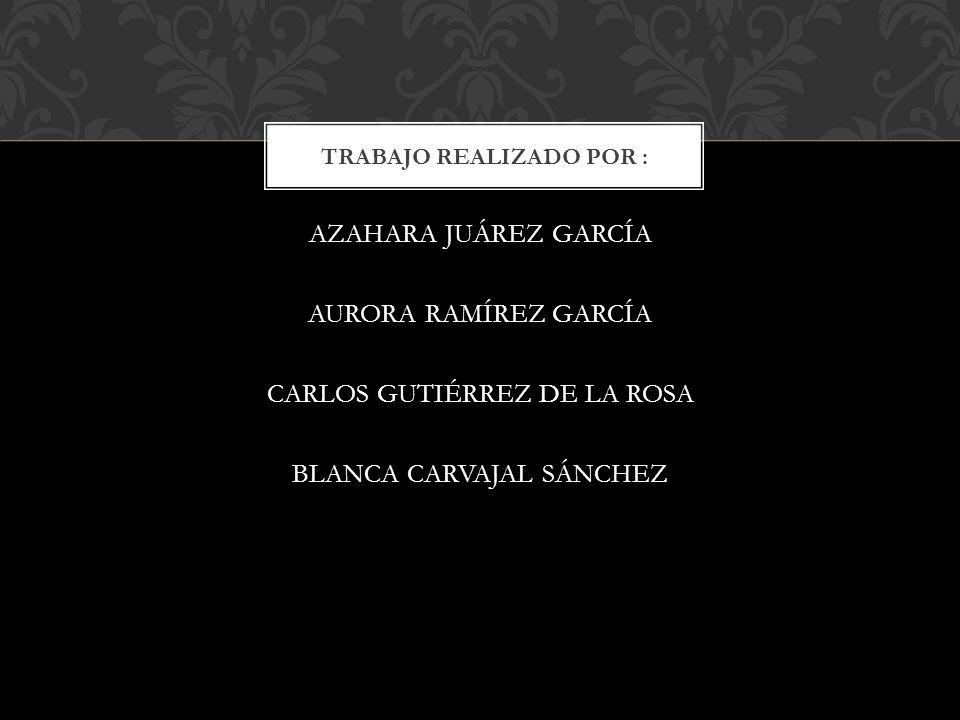 AZAHARA JUÁREZ GARCÍA AURORA RAMÍREZ GARCÍA CARLOS GUTIÉRREZ DE LA ROSA BLANCA CARVAJAL SÁNCHEZ TRABAJO REALIZADO POR :