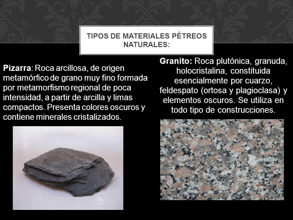 Granito: Roca plutónica, granuda, holocristalina, constituida esencialmente por cuarzo, feldespato (ortosa y plagioclasa) y elementos oscuros. Se util