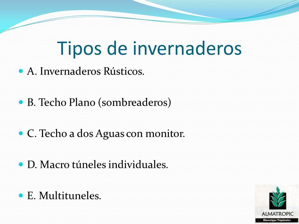 Tipos de invernaderos A. Invernaderos Rústicos. B. Techo Plano (sombreaderos) C. Techo a dos Aguas con monitor. D. Macro túneles individuales. E. Mult