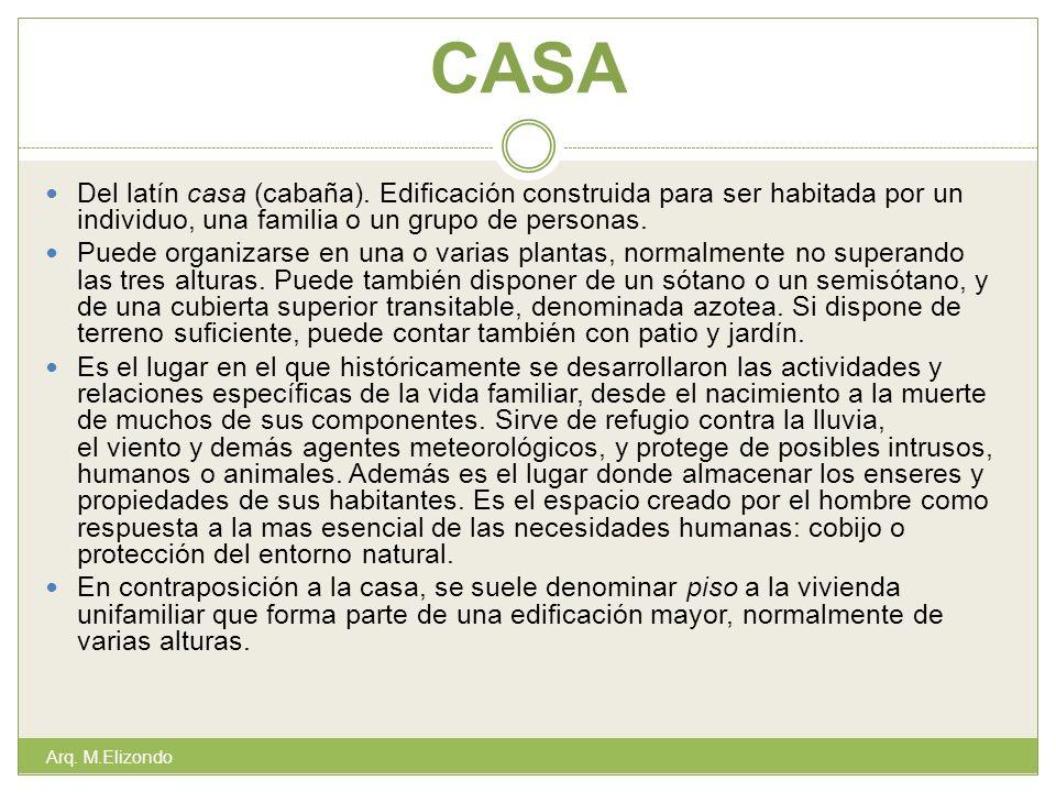 CASA Del latín casa (cabaña). Edificación construida para ser habitada por un individuo, una familia o un grupo de personas. Puede organizarse en una