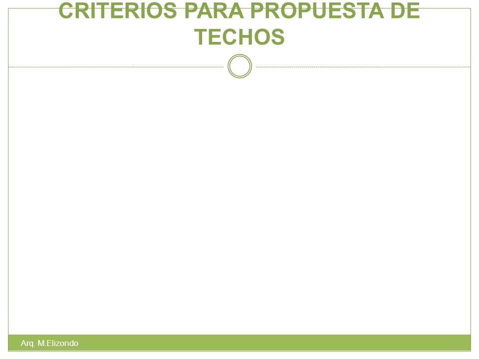 CRITERIOS PARA PROPUESTA DE TECHOS Arq. M.Elizondo