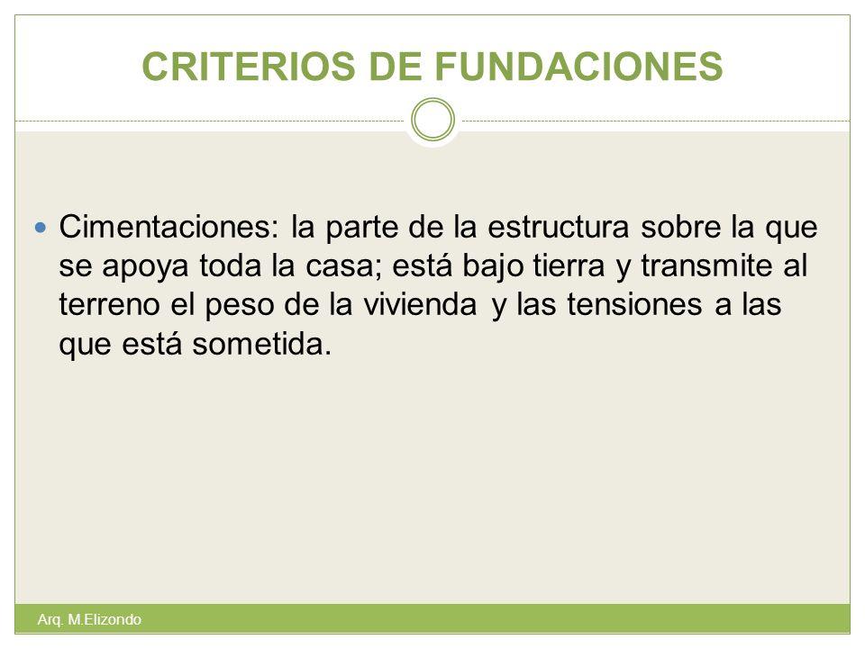 CRITERIOS DE FUNDACIONES Arq. M.Elizondo Cimentaciones: la parte de la estructura sobre la que se apoya toda la casa; está bajo tierra y transmite al