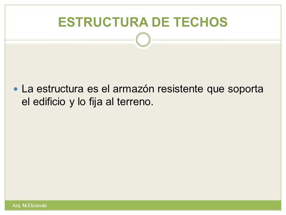 ESTRUCTURA DE TECHOS Arq. M.Elizondo La estructura es el armazón resistente que soporta el edificio y lo fija al terreno.