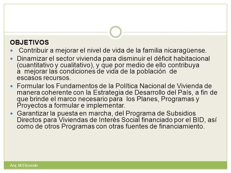 OBJETIVOS Contribuir a mejorar el nivel de vida de la familia nicaragüense. Dinamizar el sector vivienda para disminuir el déficit habitacional (cuant