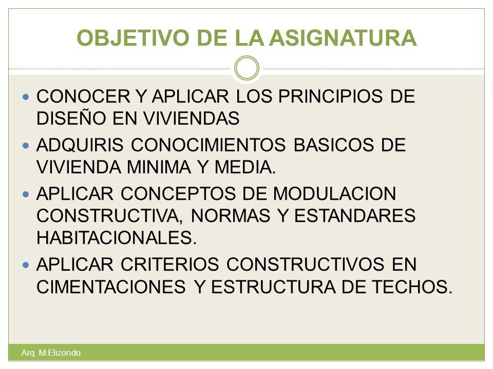 OBJETIVO DE LA ASIGNATURA Arq. M.Elizondo CONOCER Y APLICAR LOS PRINCIPIOS DE DISEÑO EN VIVIENDAS ADQUIRIS CONOCIMIENTOS BASICOS DE VIVIENDA MINIMA Y