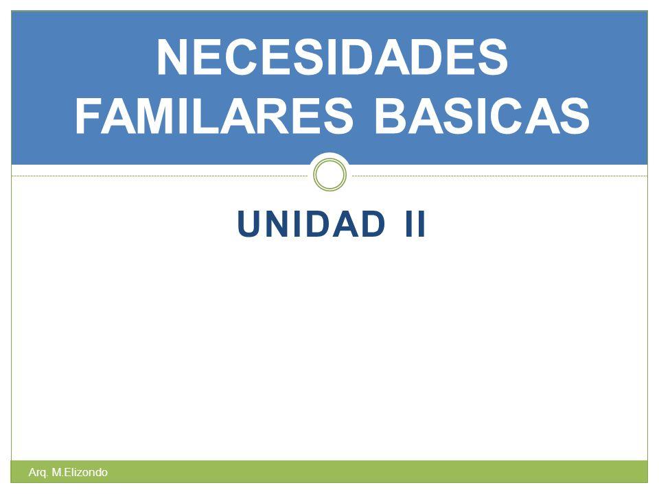 UNIDAD II NECESIDADES FAMILARES BASICAS Arq. M.Elizondo