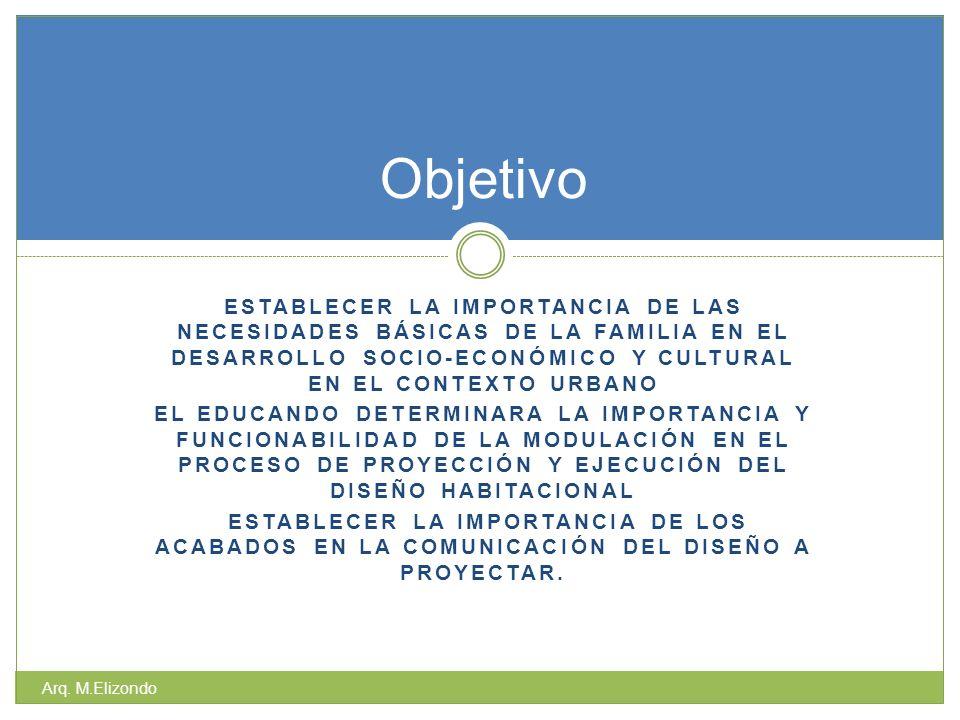 ESTABLECER LA IMPORTANCIA DE LAS NECESIDADES BÁSICAS DE LA FAMILIA EN EL DESARROLLO SOCIO-ECONÓMICO Y CULTURAL EN EL CONTEXTO URBANO EL EDUCANDO DETERMINARA LA IMPORTANCIA Y FUNCIONABILIDAD DE LA MODULACIÓN EN EL PROCESO DE PROYECCIÓN Y EJECUCIÓN DEL DISEÑO HABITACIONAL ESTABLECER LA IMPORTANCIA DE LOS ACABADOS EN LA COMUNICACIÓN DEL DISEÑO A PROYECTAR.