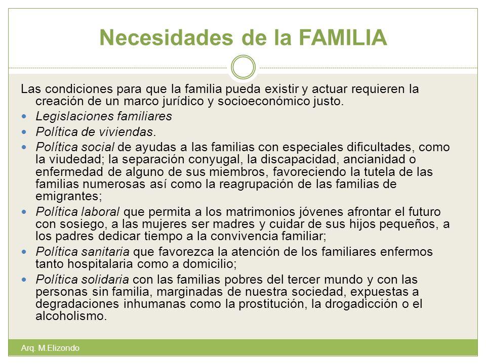 Necesidades de la FAMILIA Las condiciones para que la familia pueda existir y actuar requieren la creación de un marco jurídico y socioeconómico justo
