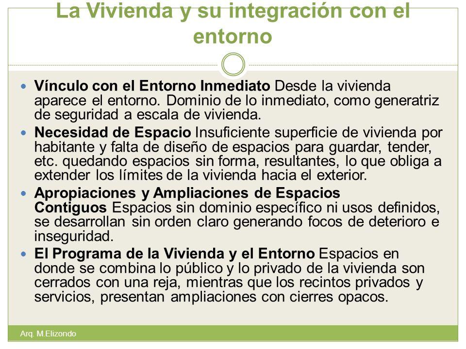 La Vivienda y su integración con el entorno Vínculo con el Entorno Inmediato Desde la vivienda aparece el entorno. Dominio de lo inmediato, como gener