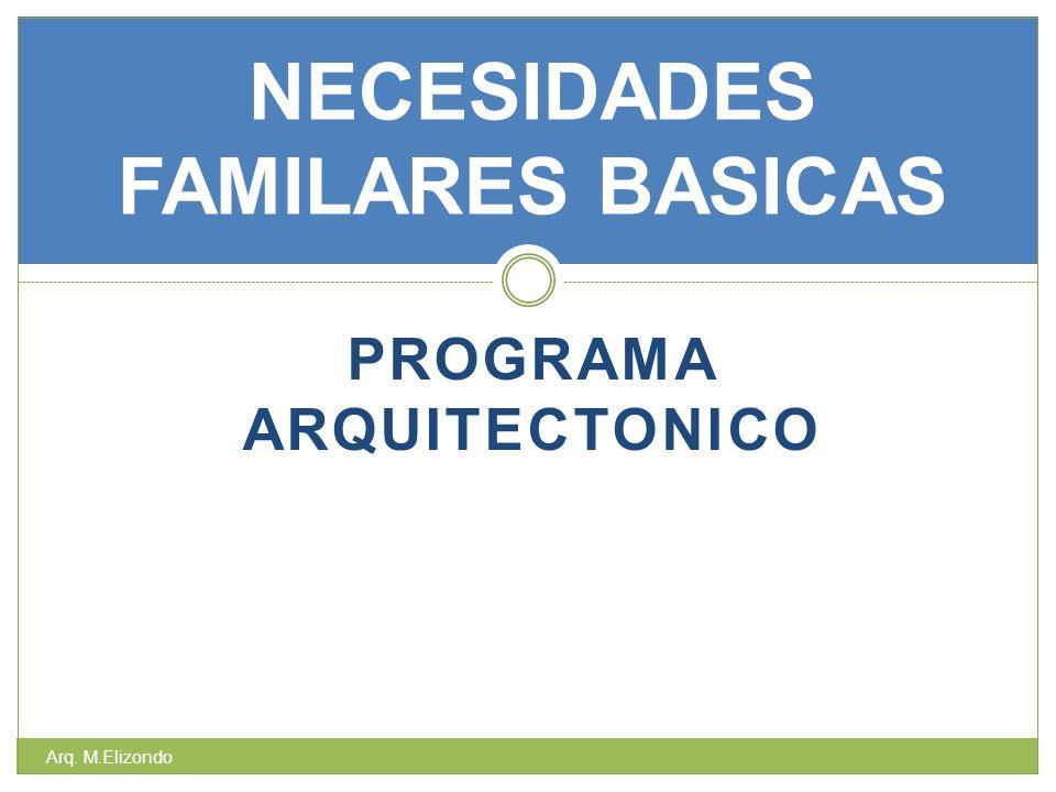 PROGRAMA ARQUITECTONICO NECESIDADES FAMILARES BASICAS Arq. M.Elizondo