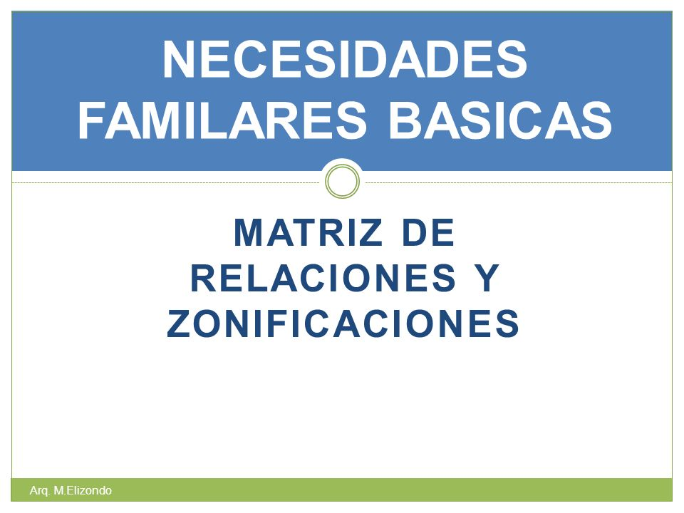 MATRIZ DE RELACIONES Y ZONIFICACIONES NECESIDADES FAMILARES BASICAS Arq. M.Elizondo