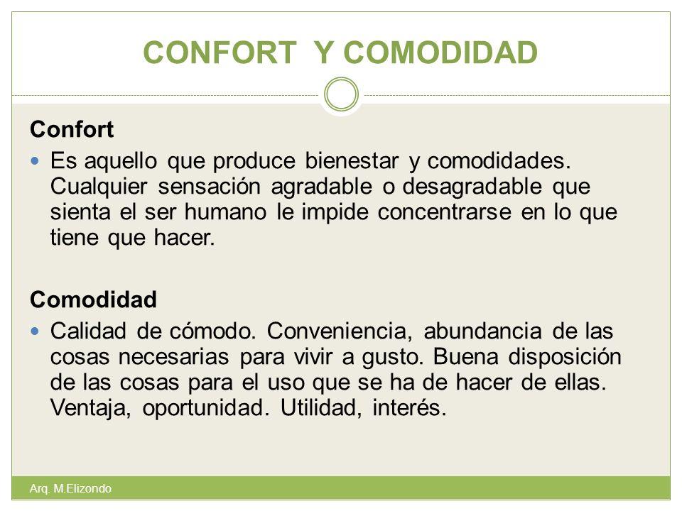 CONFORT Y COMODIDAD Confort Es aquello que produce bienestar y comodidades. Cualquier sensación agradable o desagradable que sienta el ser humano le i