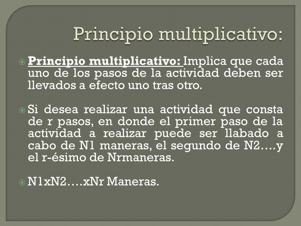 Principio multiplicativo: Implica que cada uno de los pasos de la actividad deben ser llevados a efecto uno tras otro. Si desea realizar una actividad