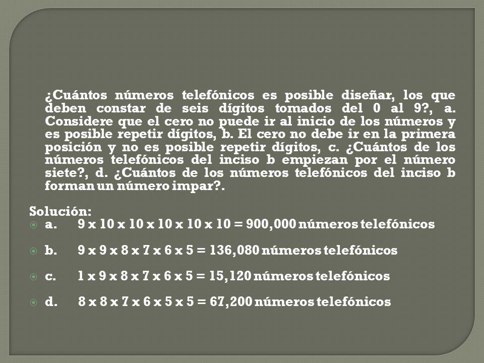 ¿Cuántos números telefónicos es posible diseñar, los que deben constar de seis dígitos tomados del 0 al 9?, a. Considere que el cero no puede ir al in