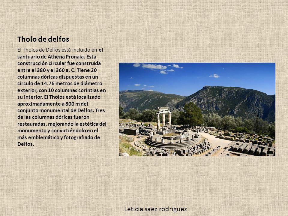Tholo de delfos El Tholos de Delfos está incluido en el santuario de Athena Pronaia. Esta construcción circular fue construida entre el 380 y el 360 a