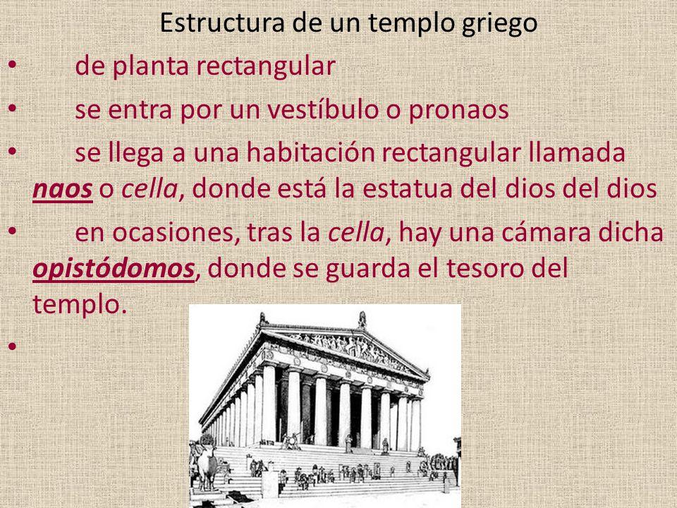 Estructura de un templo griego de planta rectangular se entra por un vestíbulo o pronaos se llega a una habitación rectangular llamada naos o cella, d