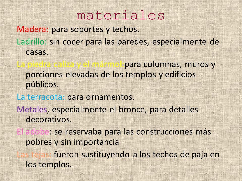 materiales Madera: para soportes y techos.