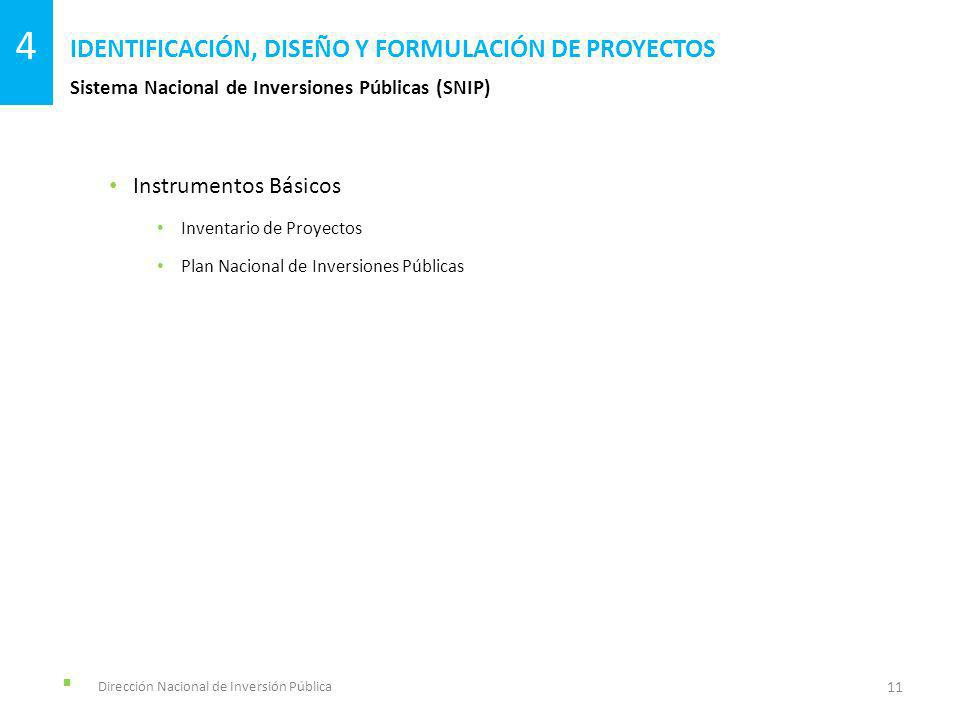Dirección Nacional de Inversión Pública Sistema Nacional de Inversiones Públicas (SNIP) IDENTIFICACIÓN, DISEÑO Y FORMULACIÓN DE PROYECTOS 11 4 Instrum