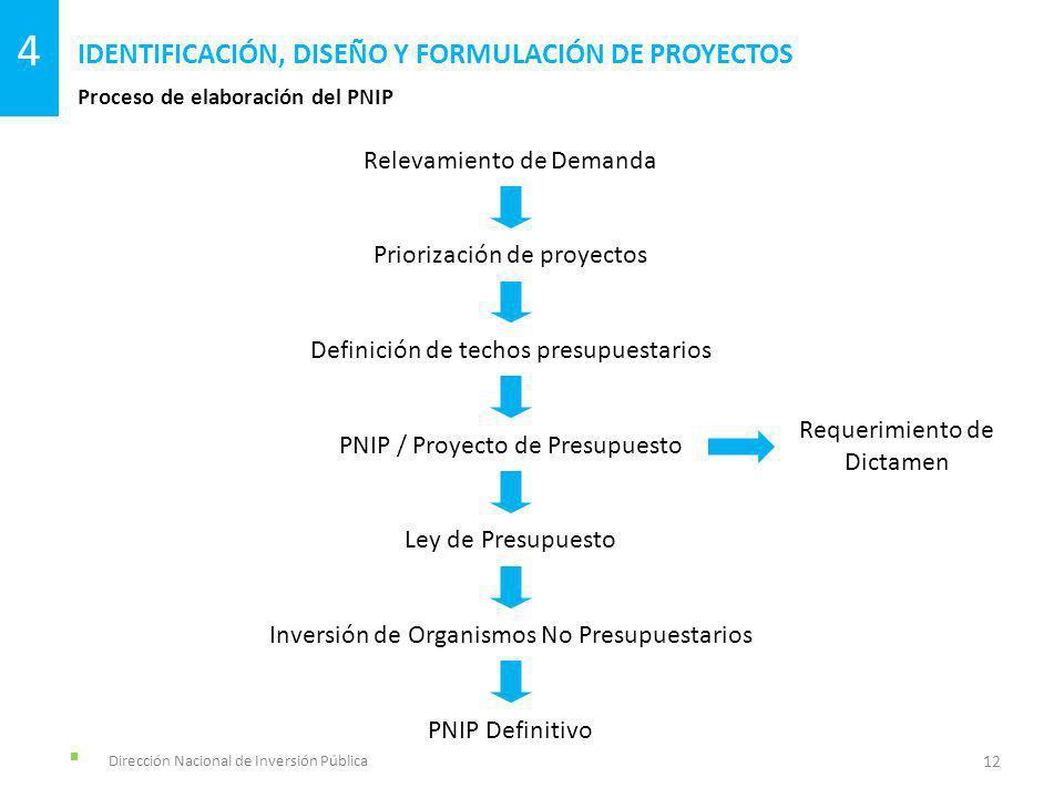 Dirección Nacional de Inversión Pública Proceso de elaboración del PNIP IDENTIFICACIÓN, DISEÑO Y FORMULACIÓN DE PROYECTOS 12 4 Relevamiento de Demanda
