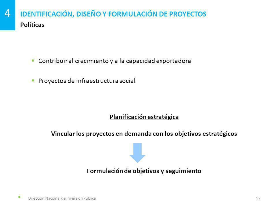 Dirección Nacional de Inversión Pública Políticas IDENTIFICACIÓN, DISEÑO Y FORMULACIÓN DE PROYECTOS 17 4 Contribuir al crecimiento y a la capacidad ex