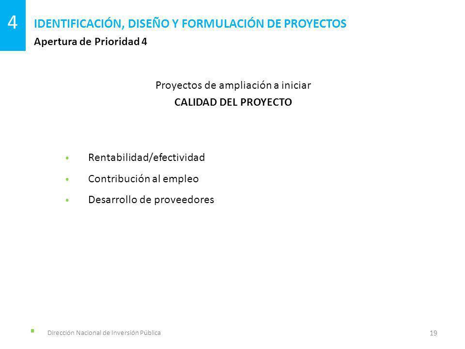 Dirección Nacional de Inversión Pública Apertura de Prioridad 4 IDENTIFICACIÓN, DISEÑO Y FORMULACIÓN DE PROYECTOS 19 4 Proyectos de ampliación a iniciar CALIDAD DEL PROYECTO Rentabilidad/efectividad Contribución al empleo Desarrollo de proveedores