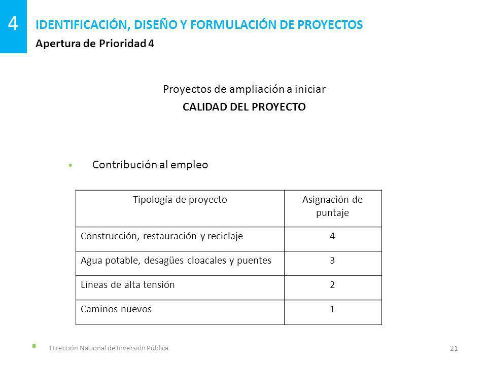 Dirección Nacional de Inversión Pública Apertura de Prioridad 4 IDENTIFICACIÓN, DISEÑO Y FORMULACIÓN DE PROYECTOS 21 4 Proyectos de ampliación a inici